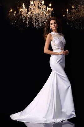 Zipper Up Long Mermaid Sleeveless Satin Wedding Dress