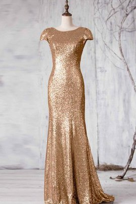 Mermaid Short Sleeves Bateau Sequins Sequined Bridesmaid Dress