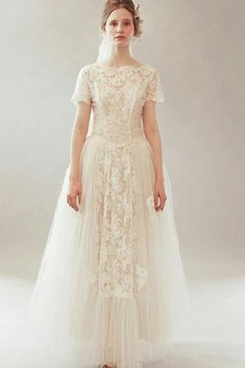 Appliques Lace Floor Length Scoop Vintage Wedding Dress