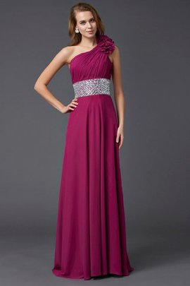 Chiffon Sleeveless Long Beading One Shoulder Prom Dress