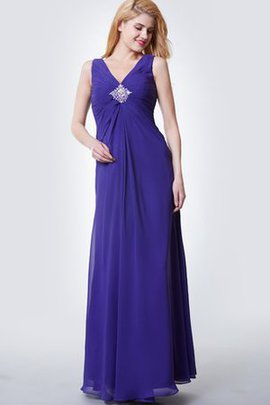 V-Neck Pleated Elegant & Luxurious Floor Length Ruched Bridesmaid Dress