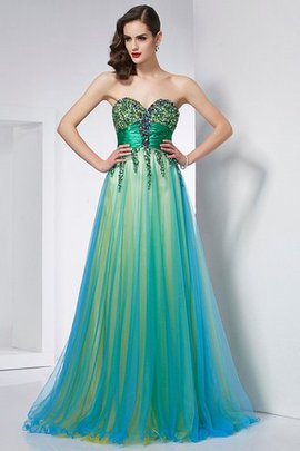 Ruffles Ball Gown Elastic Woven Satin Sleeveless Sweep Train Prom Dress