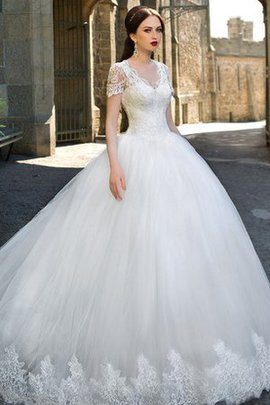 Short Sleeves Lace Fabric Elegant & Luxurious Zipper Up Wedding Dress