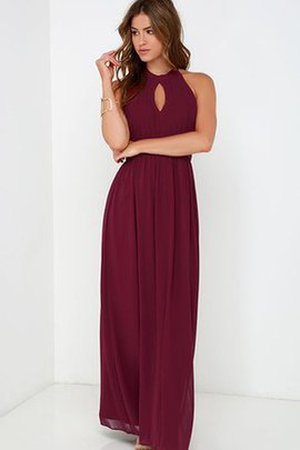Floor Length A-Line Long Halter Simple Bridesmaid Dress