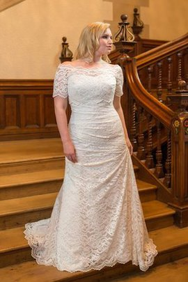 Plus Size Floor Length Draped Off The Shoulder Sweep Train Wedding Dress