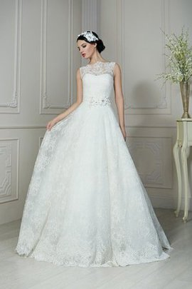 Lace Zipper Up Floor Length Natural Waist Wedding Dress