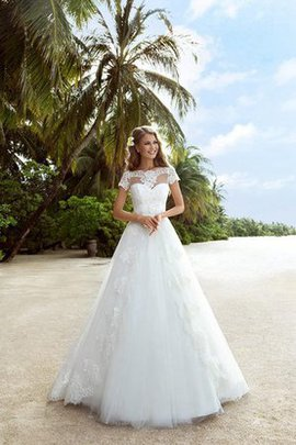 Capped Sleeves Tulle Appliques Beach Off The Shoulder Wedding Dress