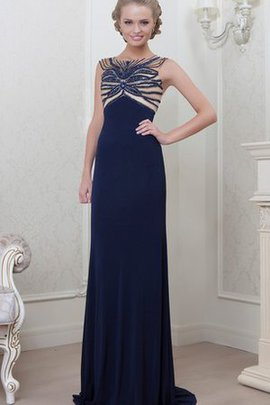 A-Line Sweep Train Elegant & Luxurious Floor Length Beading Prom Dress