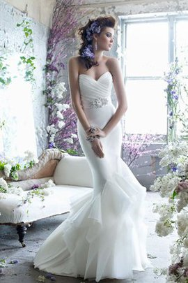 Crystal Sleeveless Sweep Train Ruched Organza Wedding Dress