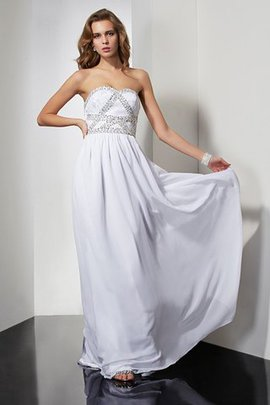 Natural Waist Floor Length Strapless Chiffon Prom Dress