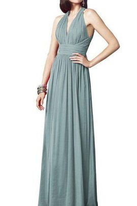 A-Line Chiffon Floor Length Ruched Halter Bridesmaid Dress