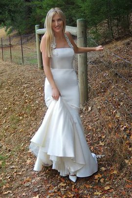 Halter Floor Length Embroidery Mermaid Zipper Up Wedding Dress