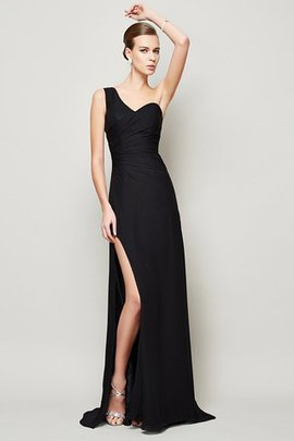 Zipper Up Draped Long Sweep Train One Shoulder Evening Dress