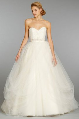 Ruched Sweetheart Natural Waist Beading Demure Wedding Dress