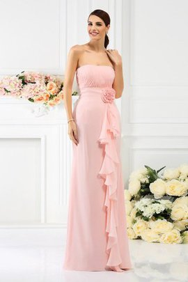 Chiffon Empire Waist Floor Length Strapless Zipper Up Bridesmaid Dress