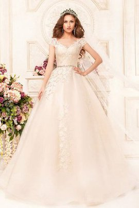 V-Neck Floor Length Lace Capped Sleeves Appliques Wedding Dress