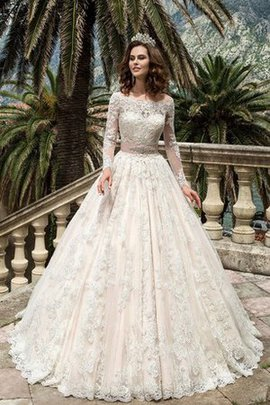 Court Train Lace Modest Pleated Elegant & Luxurious Wedding Dress