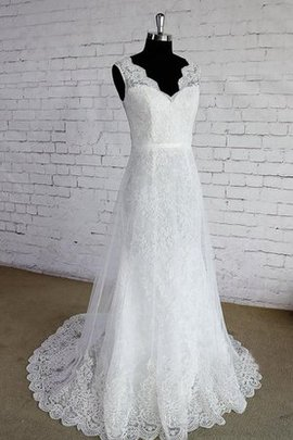 Simple Notched Zipper Up Sleeveless V-Neck Wedding Dress