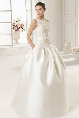 Satin Keyhole Back Formal Floor Length Beading Wedding Dress
