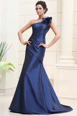 Elegant & Luxurious Ruched One Shoulder Flowers Sleeveless Prom Dress