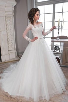 Long Floor Length Long Sleeves A-Line Appliques Wedding Dress