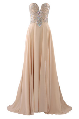 A-Line Long Keyhole Back Crystal Jewel Accented Prom Dress