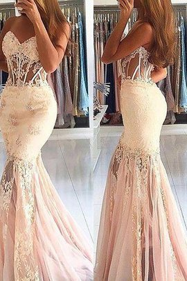 Tulle Mermaid Natural Waist Lace Sleeveless Prom Dress