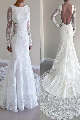 Lace Mermaid Natural Waist Scoop Court Train Wedding Dress
