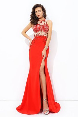 Sheath Chiffon Beading Natural Waist Jewel Prom Dress