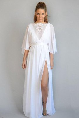 Deep V-Neck Chiffon Floor Length Half Sleeves Vintage Wedding Dress