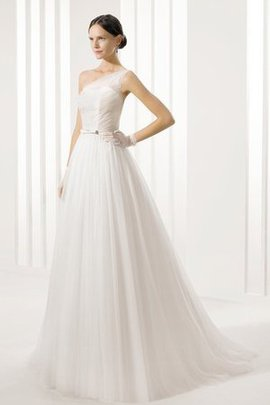 Hourglass Sweep Train Rectangle Pleated One Shoulder Wedding Dress