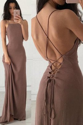 Sleeveless Lace-up Ruffles Natural Waist Gorgeous Spaghetti Straps Evening Dress