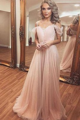 A-Line Dazzling Ruched Princess Tulle Sweep Train Off The Shoulder Evening Dress