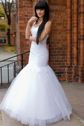 Sleeveless Natural Waist Lace Sweetheart Tulle Wedding Dress
