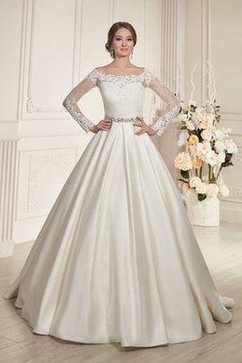 Ruched Button Long Sleeves Elegant & Luxurious Pleated Wedding Dress