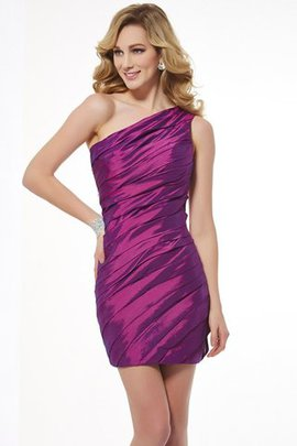 Sheath Natural Waist Taffeta Sleeveless One Shoulder Homecoming Dress