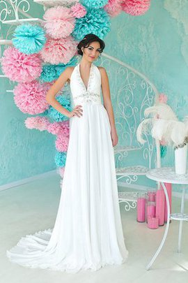 Chiffon Ruched Backless Beading Floor Length Wedding Dress