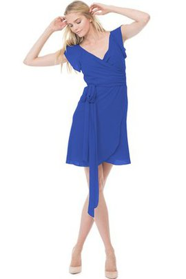 Short Chiffon Capped Sleeves V-Neck Bridesmaid Dress