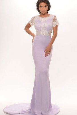 Chiffon Court Train Scalloped-Edge Scoop Sexy Evening Dress