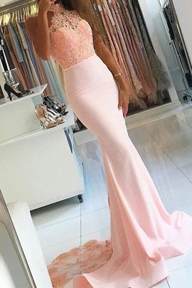 Zipper Up Sweep Train Satin Natural Waist Lace Evening Dress