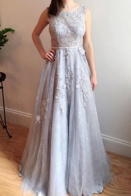 Sleeveless Elegant & Luxurious Scoop Lace Fabric Sweep Train Bridesmaid Dress