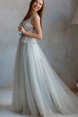 Tulle Lace Short Sleeves Jewel Capped Sleeves Prom Dress