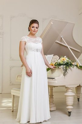 Pleated Chiffon Lace-up Beading Jewel Wedding Dress
