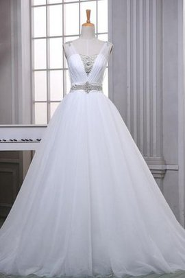 Lace Fabric Tulle Beading Lace-up Satin Wedding Dress