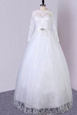 Sequined A-Line Modest Tulle Lace Fabric Wedding Dress
