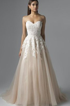 Tulle Lace-up Lace Fabric Natural Waist Floor Length Wedding Dress