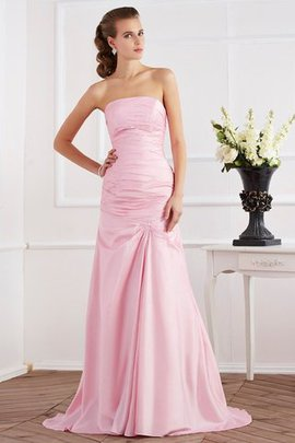 Lace-up Beading Taffeta Strapless Sweep Train Evening Dress