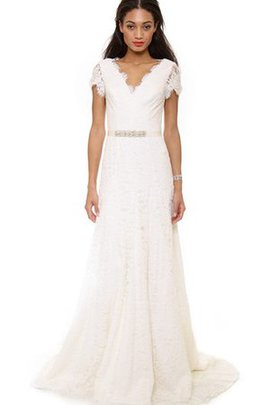 Elegant & Luxurious Sweep Train Short Sleeves Scalloped-Edge Simple Wedding Dress