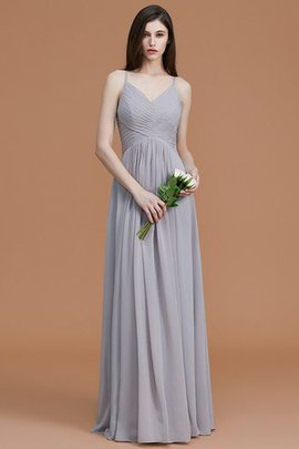Ruched Natural Waist Spaghetti Straps A-Line Sleeveless Bridesmaid Dress