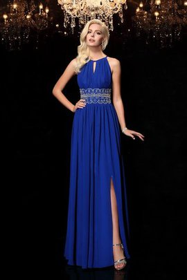 A-Line Long Beading Chiffon Zipper Up Evening Dress